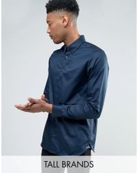 Ted Baker | Blue Tall Satin Stretch Smart Shirt for Men | Lyst
