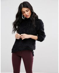 Blend She | Black Feather High Neck Long Sleeved Top | Lyst