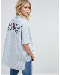Mango | Blue Embroidered Back And Stripe Detail Shirt | Lyst