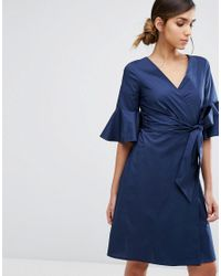 Closet | Blue Closet Wrap Front Shirt Dress With Fluted Sleeve | Lyst