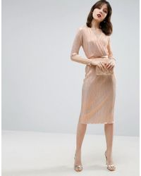 ASOS | Brown Pencil Plisse Dress With Wrap Detail | Lyst