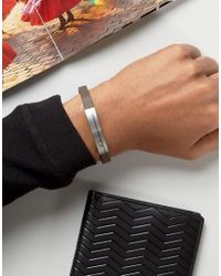 Emporio Armani - Black Logo Leather Bracelet In Brown for Men - Lyst