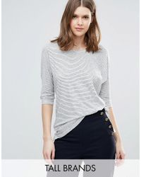 New Look | Gray Slouchy Stripe Top | Lyst
