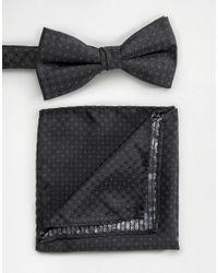 SELECTED | Black Textured Bow Tie And Pocket Square for Men | Lyst