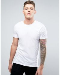 Jack & Jones   White Longline Core Crew Neck T-shirt With Curved Hem for Men   Lyst