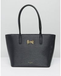 Ted Baker | Black Curved Bow Small Zip Shopper Bag | Lyst