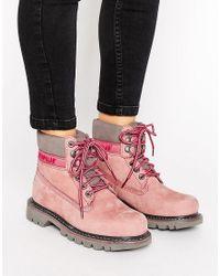 Caterpillar | Pink Cat Colorado Lace Up Flat Boot | Lyst