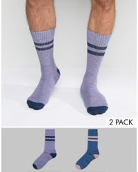 ASOS - Blue Tube Style Socks 2 Pack for Men - Lyst