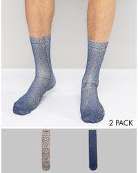 ASOS | Blue Socks With Leopard Print Design 2 Pack for Men | Lyst