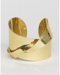 ASOS - Metallic Statement Hammered Cuff Bracelet - Lyst