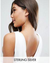 ASOS | Metallic Sterling Silver Faux Pearl Strand Earrings | Lyst