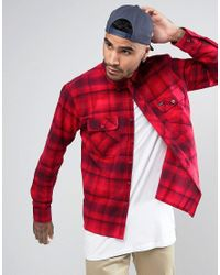 Brixton | Red Flannel Check Shirt In Regular Fit for Men | Lyst
