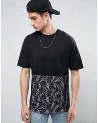 ASOS | Black Oversized T-shirt With Lace Cut And Sew Panel for Men | Lyst