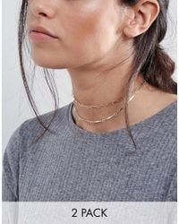 ASOS | Multicolor Pack Of 2 Open Chain Choker Necklaces | Lyst