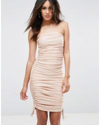 ASOS   Natural Mesh Ruched Bandeau Midi Bodycon Dress With Ties   Lyst