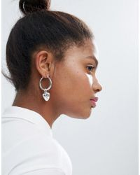 Monki - Metallic Heart Hoop Earrings - Lyst