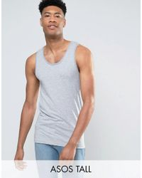 ASOS | Tall Muscle Tank In Gray Marl for Men | Lyst