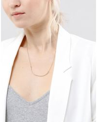 SELECTED - Metallic Gold Bar Necklace - Lyst