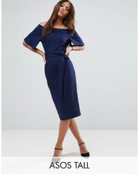 ASOS | Blue Midi Dress With Off Shoulder And Self Tie | Lyst