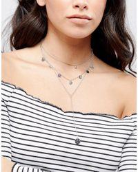 ASOS - Metallic Coin Multirow Necklace - Lyst