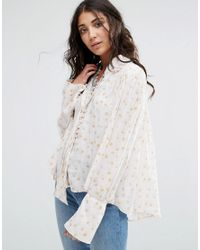 Free People | White Modern Muse Lace Up Blouse | Lyst