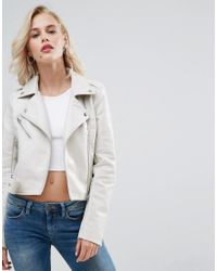 various kinds of latest wholesale sales Pull&Bear Leather Look Biker Jacket in White - Lyst