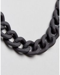 ASOS | Chain Necklace In Black With Rubberised Finish for Men | Lyst
