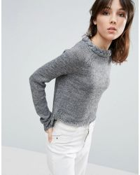 Native Youth - Gray Plaited Neck Crew Jumper - Lyst