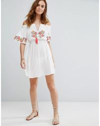 Floozie | White Off The Shoulder Embroidered Beach Dress | Lyst