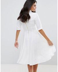 Closet - White High Neck 3/4 Sleeve Shirt Dress - Lyst