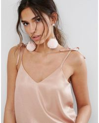 ALDO   Pink Blush Faux Fur Pom Pom Earrings   Lyst