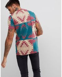 ASOS - Red T-shirt With Aztec Print for Men - Lyst