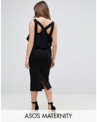 ASOS | Black Asos Matenrity Ruffle Top Square Neck Midi Dress With Cross Back | Lyst