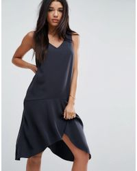 ASOS - Black Asymmetric Midi Dress - Lyst