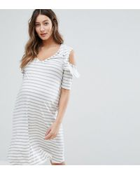 67f99d5a165a6 Lyst - Bluebelle Maternity Cut Out Shoulder Dress In Stripe