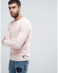 Pull&Bear - Lightweight Knit Jumper In Light Pink for Men - Lyst