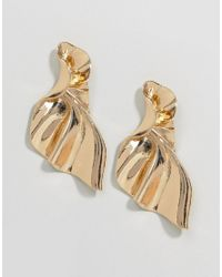 ASOS - Metallic Statement Folded Metal Earrings - Lyst