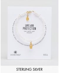 Dogeared - Pink Gold Plated Love And Protection Heart Hamsa Soothing Rose Quartz Bracelet - Lyst