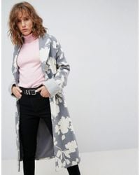 ASOS - Multicolor Oversized Coat With Jaquard Print - Lyst