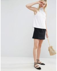 ASOS - White Swing Top With Shirred Neck - Lyst