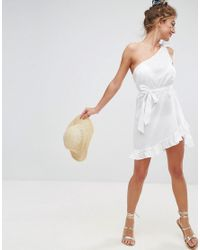 ASOS - White Design Beach One Shoulder Sundress With Frill Hem - Lyst