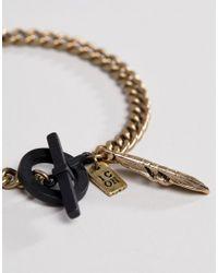 Icon Brand - Metallic Gold Chain Bracelet With Matte Black T Bar for Men - Lyst