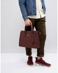 ASOS Red Satchel In Burg Faux Leather for men
