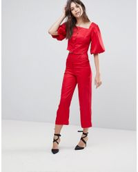Fashion Union - Red Button Front Crop Top Co-ord - Lyst