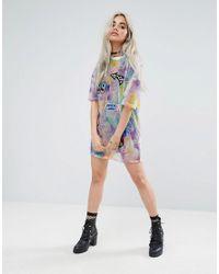 Jaded London - Multicolor Oversized Tshirt Dress In Tie Dye Print - Lyst