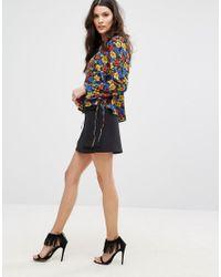 Mango - Multicolor Floral Tie Sleeve Blouse - Lyst