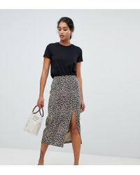 b00a42b82e1f Oasis - Multicolor Side Split Midi Skirt In Animal Print - Lyst