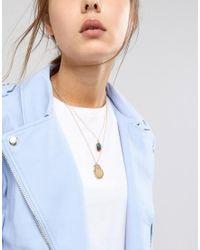 ASOS - Metallic Vintage Style Angel & Molten Coin Multirow Necklace - Lyst
