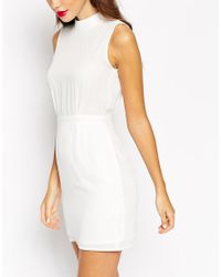 ASOS | White Petite Sleeveless Mini Dress With High Neck | Lyst