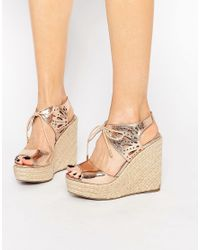5c402453d3e Lyst - Lipsy Brooke Rose Gold Metallic Tie Up Wedge Sandals in Natural